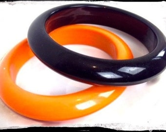 80's Vintage Bangle - Pair of 80's Retro Bangles - Orange & Black