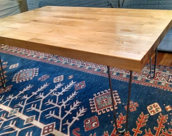 Butcher Block Coffee Table with Hairpin Legs