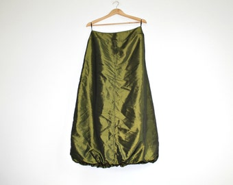 Olive green Taffeta Ball skirt Maxi skirt With Bubble Hem  Prom gown Bridesmaid outfit Bubble skirt PARTY DRESS
