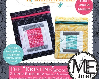 Kimberbell Designs The Kristine Zipper Pouches Spool Small and Medium with CD KD615
