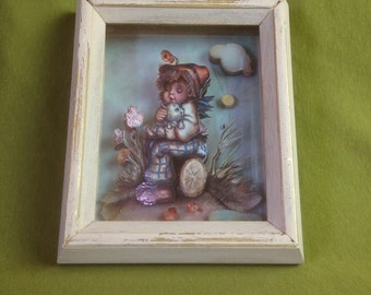 Rare Vintage Hummel Cut-out Picture Frame Girl Holding Dog Shadow Box 3-D Hand Carved Sheesham Wood India