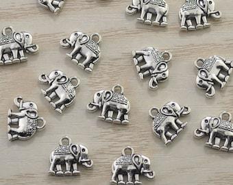 50pcs Tiny Elephant  Charm,Elephant Pendant,Cute Elephant Pendant , Animal Pendant, Antique Silver Elephant 14x12mm