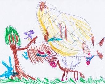 "Child's drawing ""AIRPLAIN in the NATURE"", 600dpi, for print, digital download"