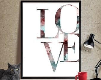 Love wall art, Love art, Typography print, Love Poster, Wall Art, Gift, Valentine, Minimalist, Decor, Mothers Day, Wedding Gift, Poster(304)
