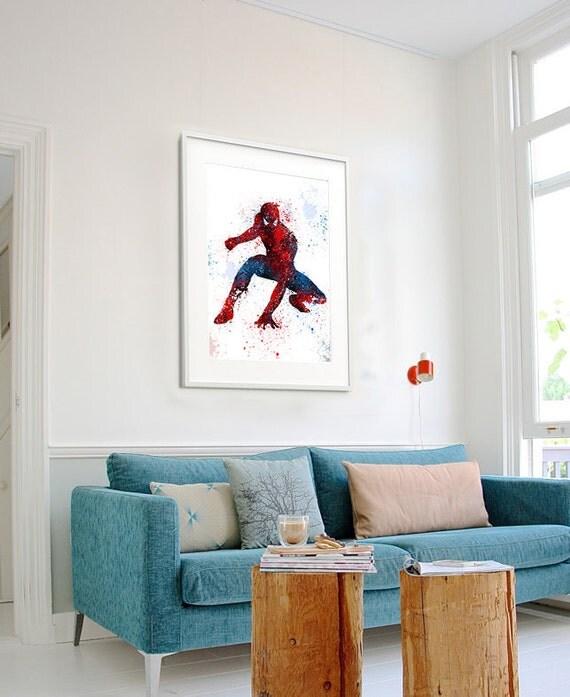Spiderman Art Print Watercolor Superhero Wall PosterSpiderman Birthday Poster Room Decor 62