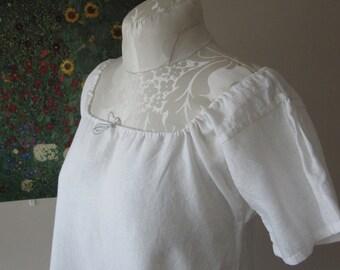White Linen Chemise Shift Gathered Sleeve Eighteenth Nineteenth Century Reenacting Regency Rev War