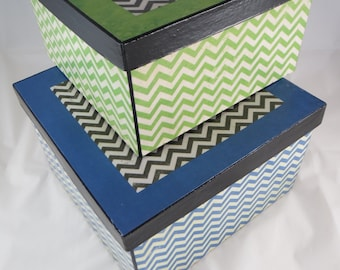 SALE Price! 2 Box Set, Nesting / Stacking Boxes, Chevron Storage Boxes, Green and Blue Decoupage Boxes, Cute Storage for Home and Office