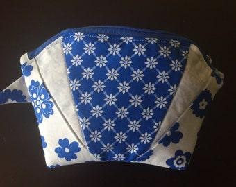 Quilted Cosmetic Bag - Blue & White