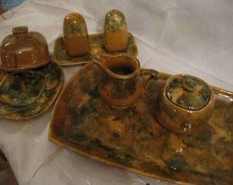 Ceramics of Beauce 9 parts 1960/70 serving dish, salt, sugar bowl, creamer
