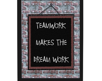Teamwork makes the Dream Work Quote Plaque, Office Decor, Printable Art, Motivational Quote, Wall Art, office gifts