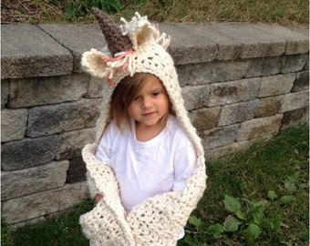 Ulyne unicorn hood, Unicorn hat, animal hat, crochet hooded scarf, Unicorn hood, animal hooded scarf, Scarf with hood, Unicorn scarf