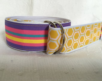 Multi colored with yellow honeycomb belt.