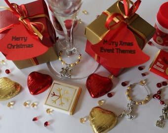 Christmas table favours / Company party favours Red & Gold boxes