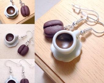 Coffee Cup earrings ~ Cute Coffee Time Sweet White Bean Earrings Miniature Food Cup