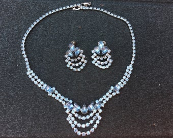 Vintage Light Blue Rhinestone Necklace and Earring Set 0660