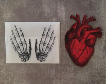 Anatomical Heart & Skeleton Handmade Card