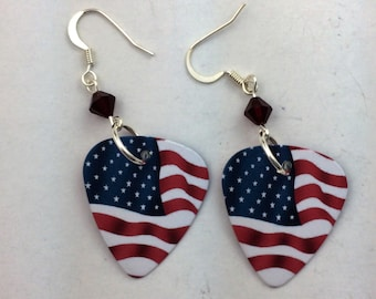 Guitar Pick earrings with Swarovski crystal