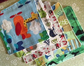 cloth wipes, cloth diaper wipes, cloth baby washcloths, set of 5 cloth wipes baby boy, shower gift