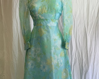 Vintage Floral formal with Sheer Overlay