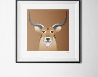 Antelope - Art Print 20cm x 20cm