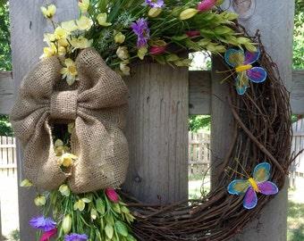 Flower grapevine wreath, grapevine front door wreath, flower wreath, flower front door wreath, summer wreath, spring wreath