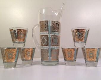 Georges Briard Mid-Century Turquoise and 22-Karat Gold 8-Piece Martini Set
