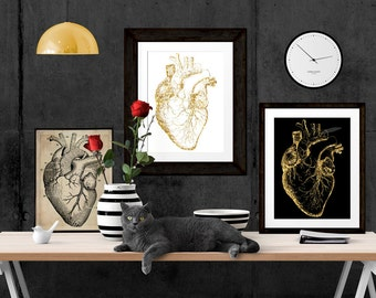 Anatomical Heart Poster, Cardiologist office Art, Doctor Office Prints, Cardiac Clinic Art, Faux Gold foil on white 8x10 Waiting Room Art
