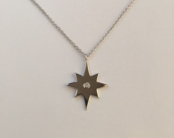 North star necklace,star necklace,925 sterling silver north star necklace