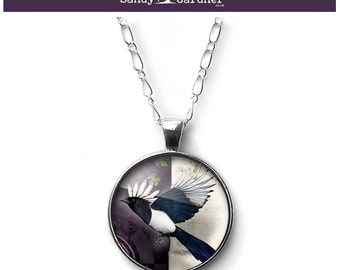 Magic of the Magpie necklace pendant