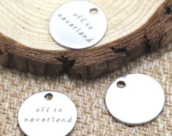 10pcs off to neverland charm silver tone message charm pendant 20mm D2046