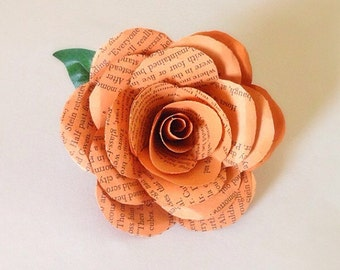 Book Page Boutonniere - ANY COLOR, Book Boutonniere, Book Page Wedding, Literary Wedding, Book Wedding, Orange Boutonniere
