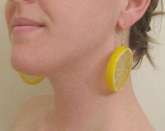 Lemon Slice Earrings, Fruit Earrings, Costume Earrings