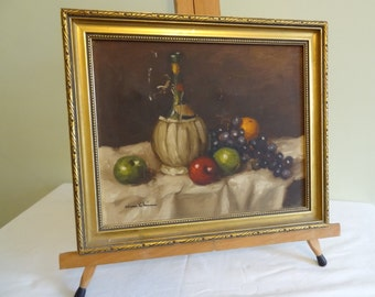Original Oil Painting Canvas Framed Cottage Chic Wine Bottle and fruit bowl still life