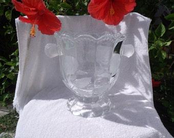 Lead Crystal Ice Bucket with embossed Rose handles