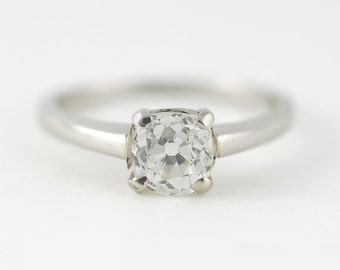Vintage .90 carat Old Mine Diamond Platinum Engagement ring. Circa 1940.