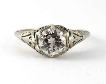 Vintage 1.17 carat Old European Diamond 18 karat white gold filigree Engagement ring. Circa 1930.