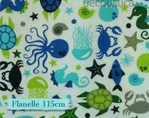 Flannel, Shellfish, fat quarter at mètre, many quantity will be cut as one continuous piece, 100% Cotton
