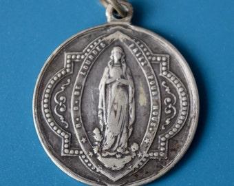 "Our Lady of Lourdes Sterling Silver 1""+ Pendant Vintage French Virgin Mary Grotto Apparition Reine du Tres Saint Rosaire Pendant Necklace"