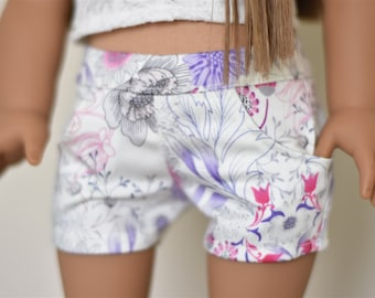 Floral white denim shorts