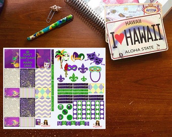 Mardi Gras Planner Stickers, Weekly Vertical Layout