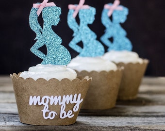 12 Mommy To Be Cupcake toppers, about to pop, pregnant cupcake toppers