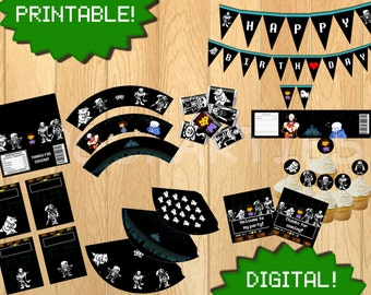 PRINTABLE Undertale Party Pack - Includes 9 items - Birthday Party decor bundle