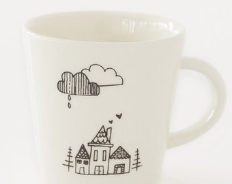 Ceramic Coffee Cup - Small House in Woods