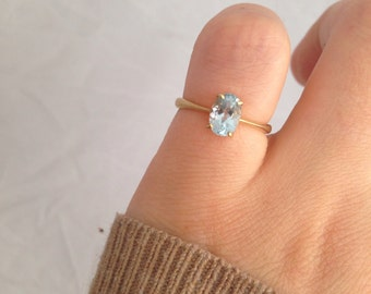 Vintage ~ Blue Topaz and 9ct Gold Ring ~ Size L / 5.75 US