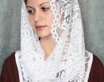 Infinity scarf chapel catholic veil mantilla lace white mantilla traditional catholic mantilla lace veil catholic head covering church veil