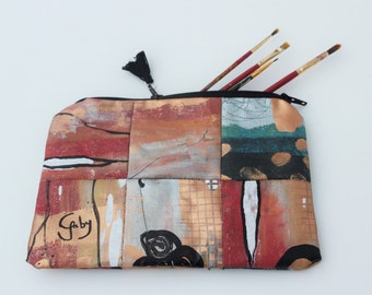 Canvas painted patchwork pouch