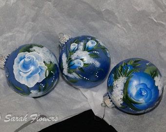 Christmas Ornaments Blue Rose