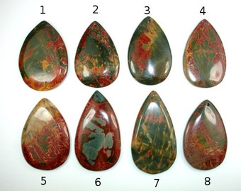 Picasso Jasper Pendant, Flat Back, 1 piece, Hole 1.5 mm (PNDT6)