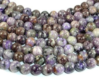 Genuine Charoite, 8mm (8.5 mm) Round Beads, 16 Inch, Full stand, Approx 49 beads, Hole 1 mm (187054004)
