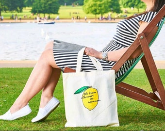 "Lemon Cotton Tote bag for shopping ""we have lemon in common"""